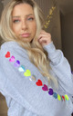 Grey Jumper with Rainbow Heart Sleeves by LimeBlonde