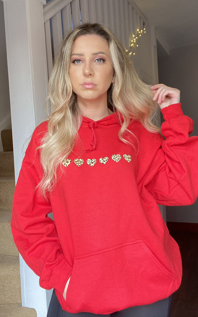 Oversized Hoodie in Red with Leopard Print Hearts by Lime Blonde