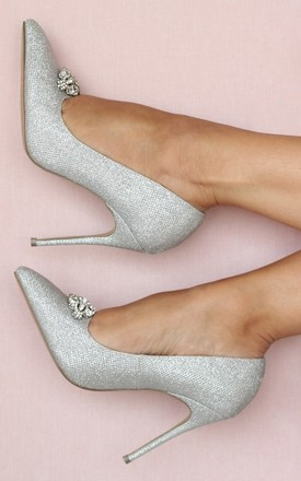 Alandra Silver High Heel Stiletto Court Shoe by Paradox London