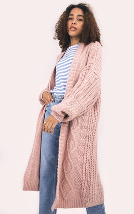 Stevie Pink Long Chunky Oversized Knitted Cardigan by Cara & The Sky