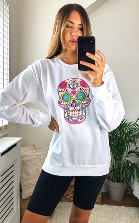 White Jumper Sweatshirt with Neon Skull Print by Fearless Alice Custom