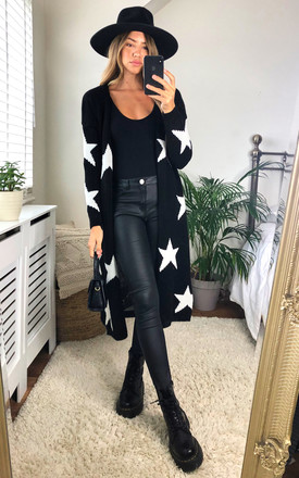 Star Print Long Cardigan In Black by KURT MULLER Product photo