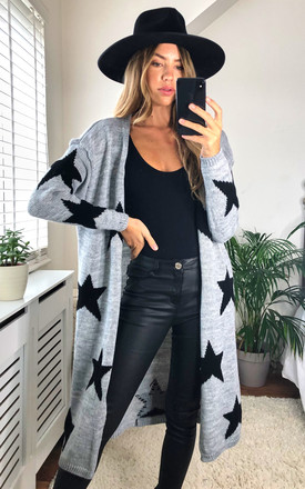 Star Print Long Cardigan In Grey by KURT MULLER Product photo