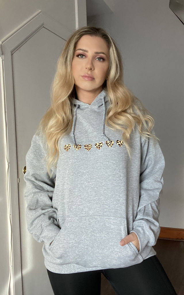Oversized Hoodie in Grey with Leopard Print Hearts by Lime Blonde