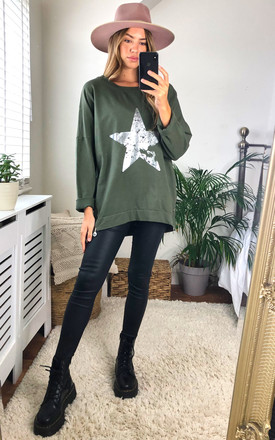 Silver Star Vintage Wash Sweatshirt In Khaki by KURT MULLER Product photo