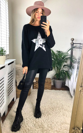 Silver Star Vintage Wash Sweatshirt In Black by KURT MULLER Product photo