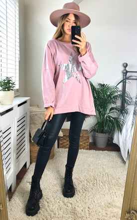 Silver Star Vintage Wash Sweatshirt in Pink by KURT MULLER