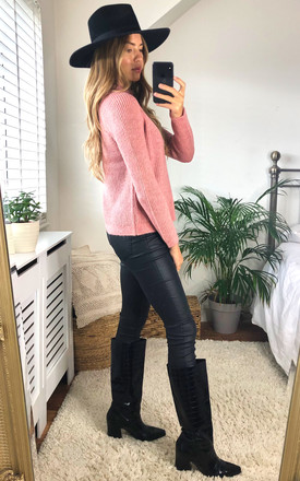Ribbed Jumper with high neck in Pink by ONLY