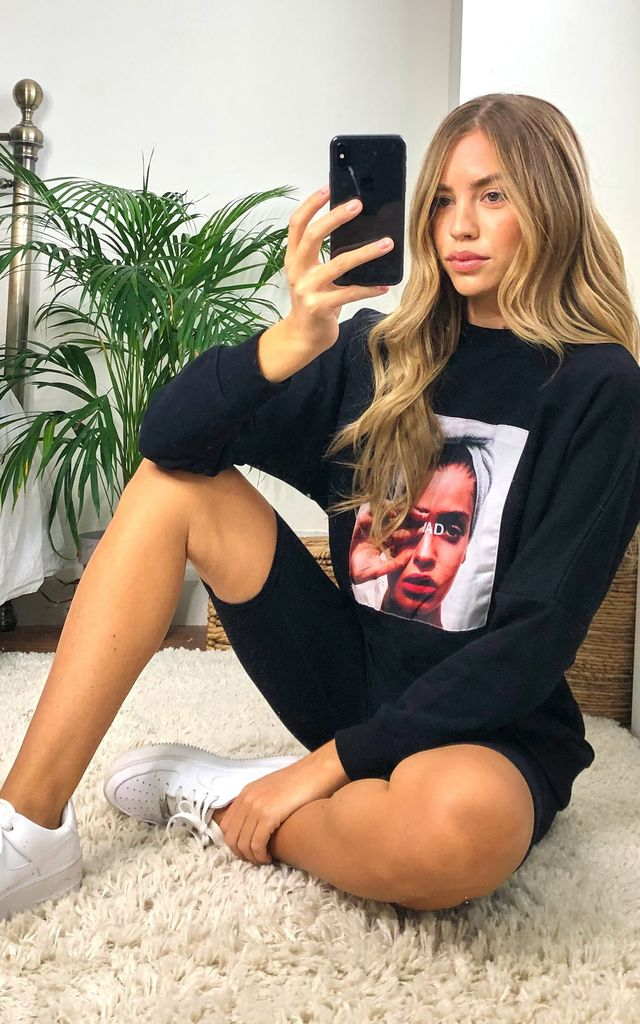 ''Mad'' Oversize Sweatshirt/Loungewear Top in Black with Print by Jenerique
