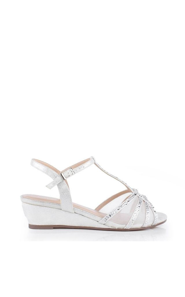 Jillly Silver Mid Heel Wedge Extra Wide Fit Sandals by Paradox London