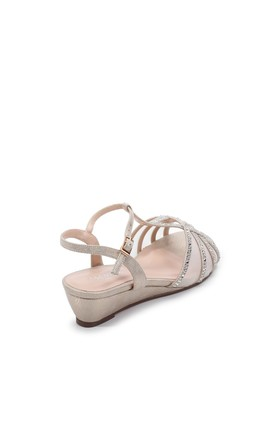 Jillly Champagne Mid Heel Wedge Extra Wide Fit Sandals by Paradox London