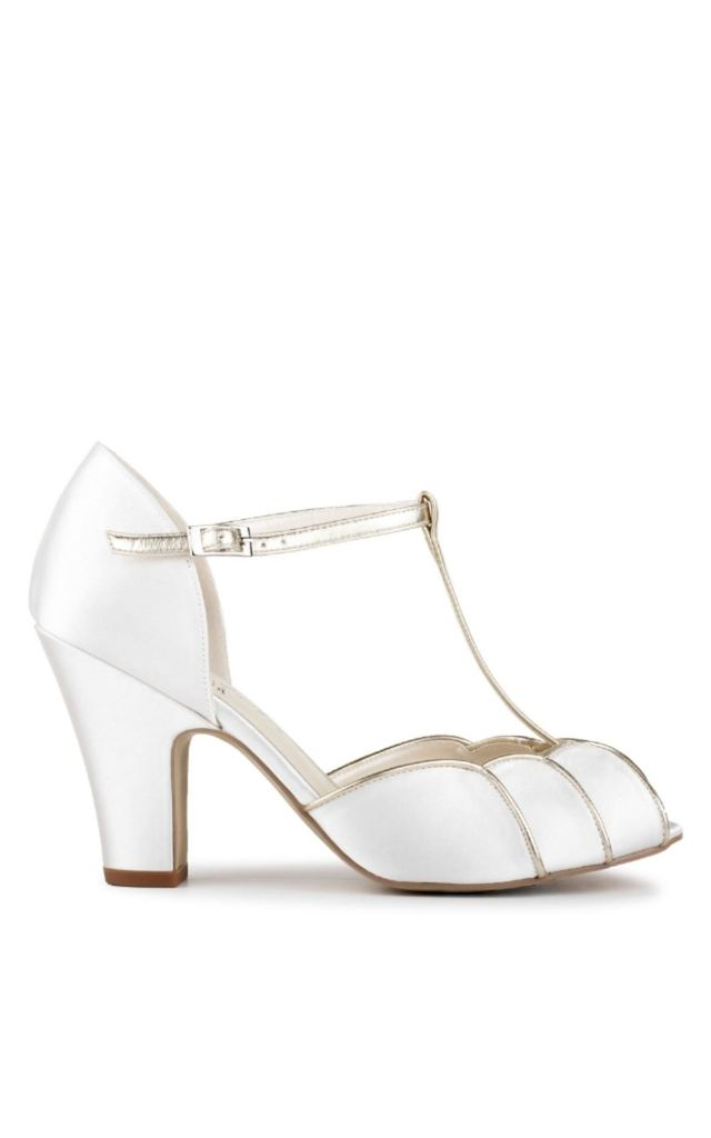 Chandler Satin High Heel T-Bar Sandals by Paradox London