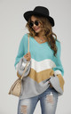 Blue & Grey Colour Block Jumper White & Golden Striped Long Sleeve Top by FS Collection