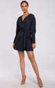 Mini Blazer Dress in Navy Blue Print by MOE