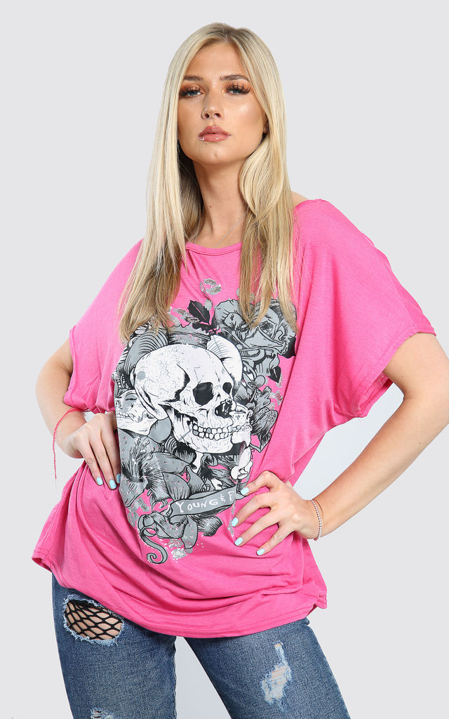 Skull Graphic Print Oversized Off Shoulder Tshirt in Cerise by Oops Fashion