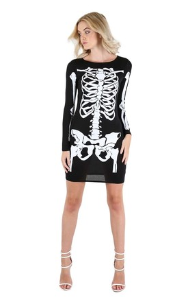 Long Sleeve Skeleton Bodycon Dress in Black by Oops Fashion