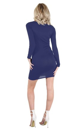 Long Sleeve Skeleton Bodycon Dress in Navy by Oops Fashion