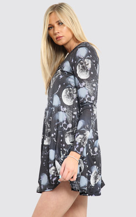 Long Sleeve Mini Dress with Black Skull Paint by Oops Fashion