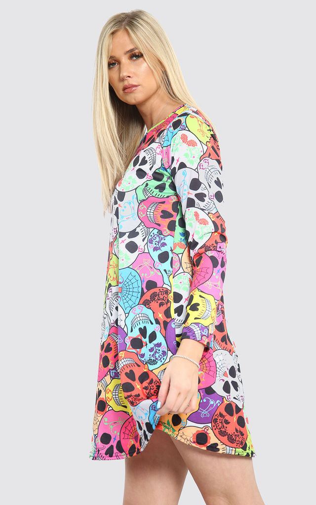 Long Sleeve Mini Dress with Multicolour by Oops Fashion