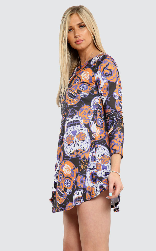 Long Sleeve Mini Dress with Purple Skull by Oops Fashion