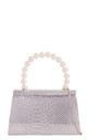 Silver metallic snake effect pearl handle by Hello Handbag