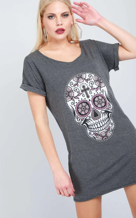 Candy Skull Print Tshirt Dress in Charcoal by Oops Fashion