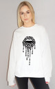 Grey Leopard Drip Lip Jumper in White by Sade Farrell