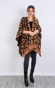 Geometric Print Knitted Reversible Blanket Cape in Camel by LOES House