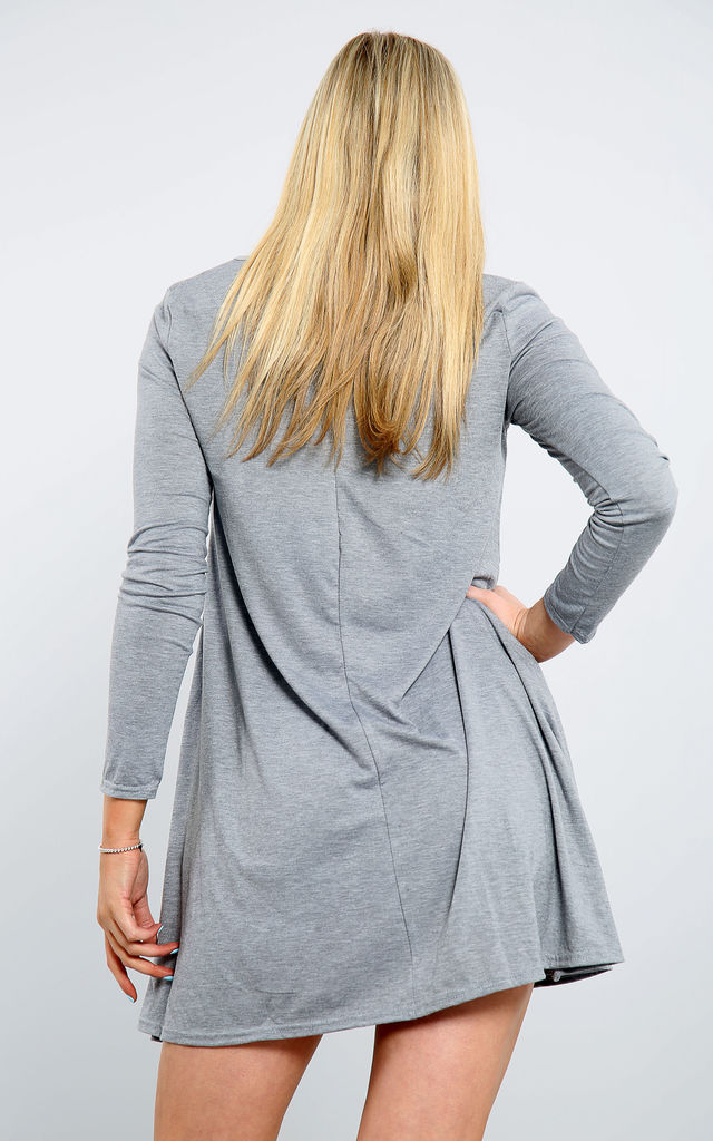 Grey Long Sleeve Swing Dress with Vampire Print by Oops Fashion