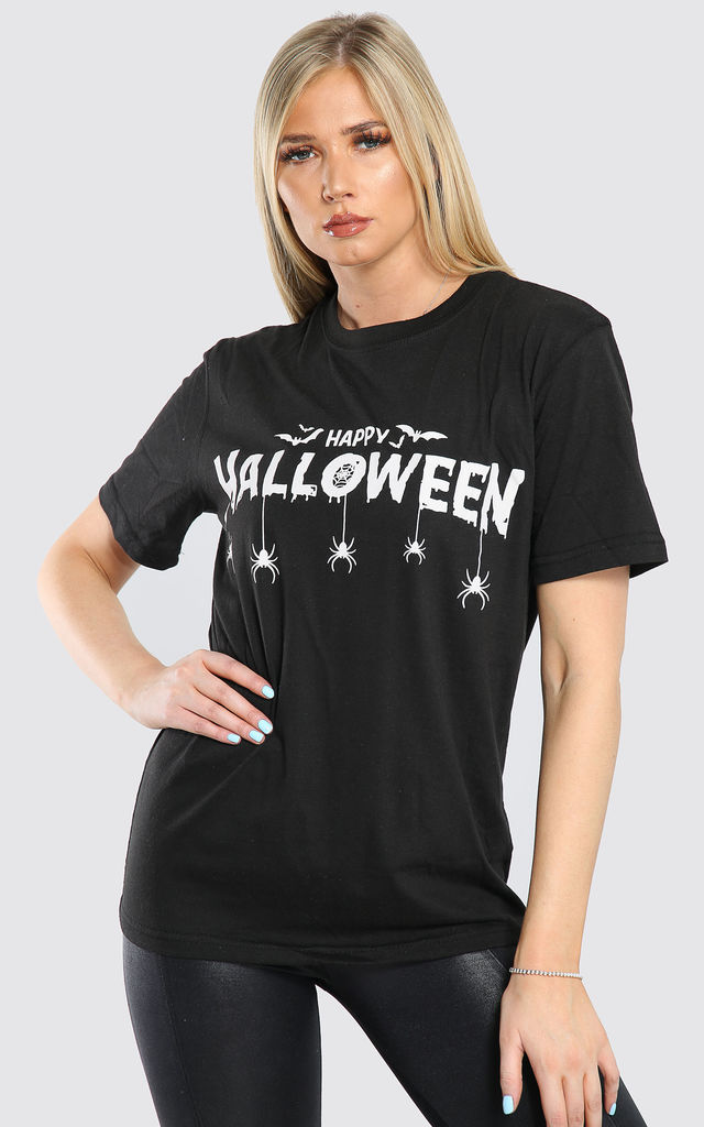 Oversized Happy Halloween Baggy Tshirt in Black by Oops Fashion