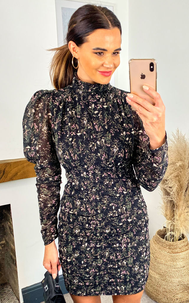 High Neck Long Puff Sleeve Mini Dress in Black Floral by LIENA