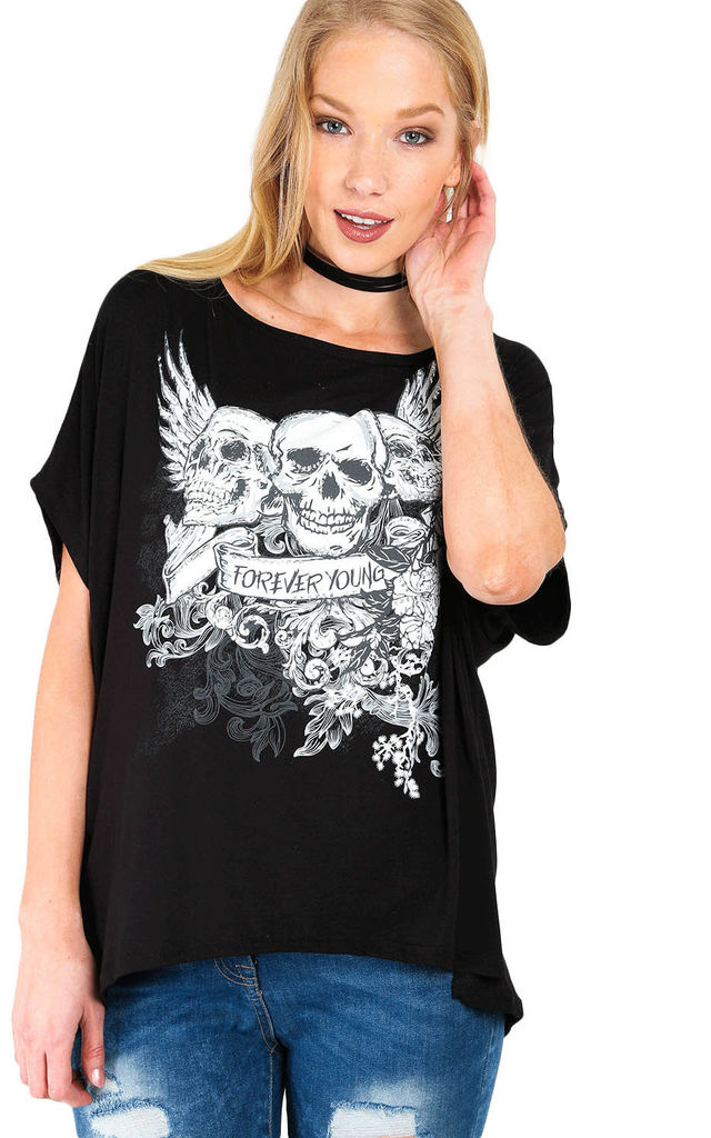 Arlene Forever Young Skull Printed T-Shirt in Black by Oops Fashion
