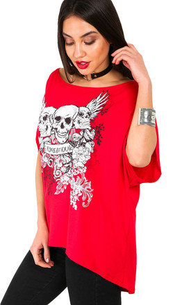 Arlene Forever Young Skull Printed T-Shirt in Red by Oops Fashion