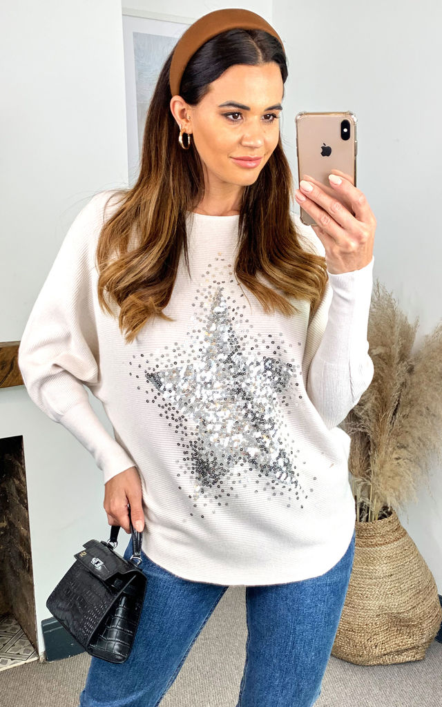 Batwing Sequin Star Oversized Jumper in Cream by HOXTON GAL