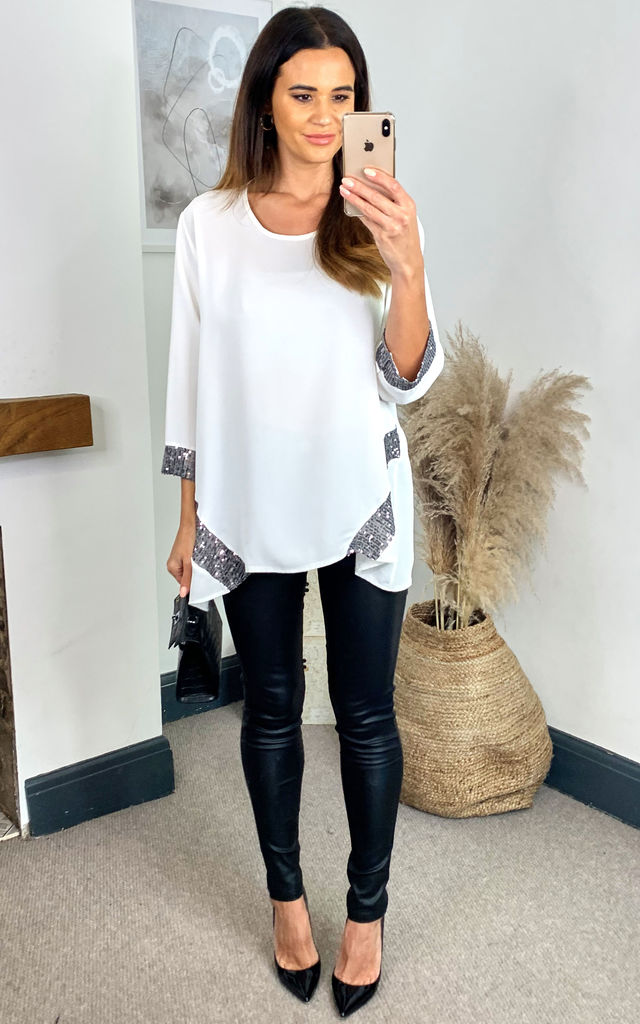 Black Sequin Detail Oversized Top in White by HOXTON GAL
