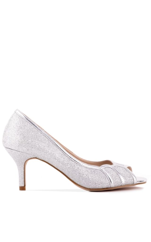 Chester Silver Low Heel Glitter Peep Toe by Paradox London