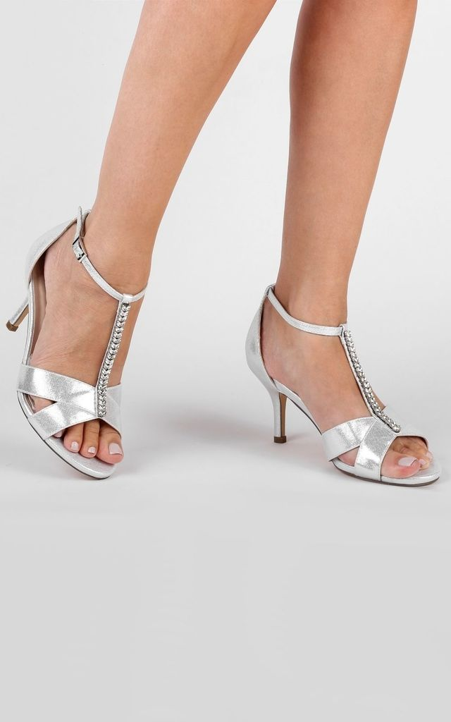 Esme Silver Glitter Wide Fit T-Bar Mid Heel Sandals by Paradox London