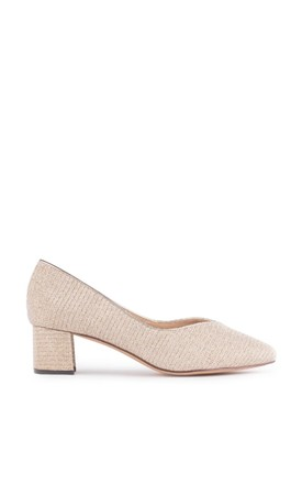 Fable Champagne Glitter Wide Fit Low Block Heel Court Shoes by Paradox London