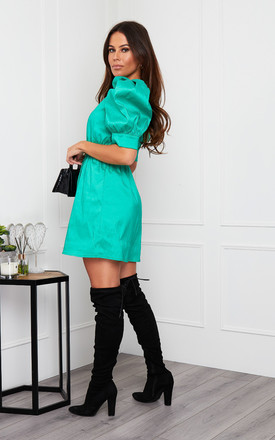 Jasmine Puff Sleeves Mini Dress Green by Girl In Mind