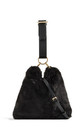 Black faux fur loop strap handbag by Hello Handbag