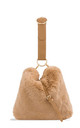 Camel faux fur loop strap handbag by Hello Handbag