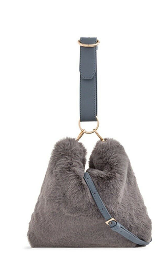Dark grey fur loop strap handbag by Hello Handbag