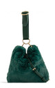 Green faux fur loop strap handbag by Hello Handbag
