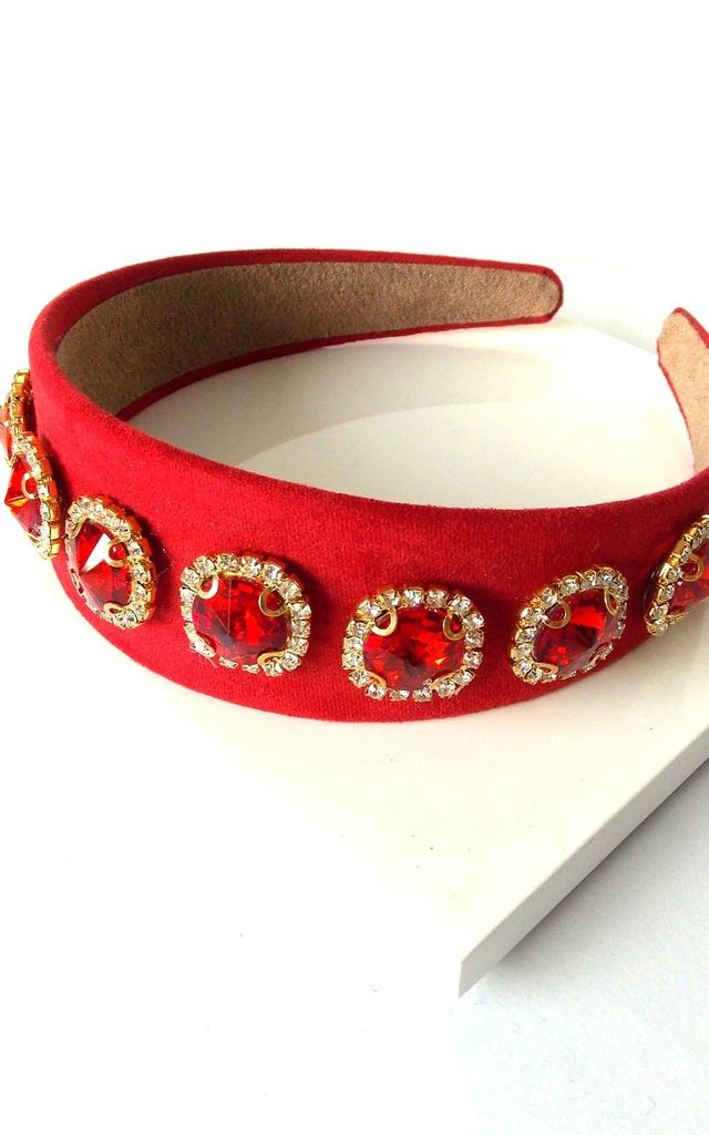 Red Faux Suede Jewelled Handmade Headband by Olivia Divine Jewellery