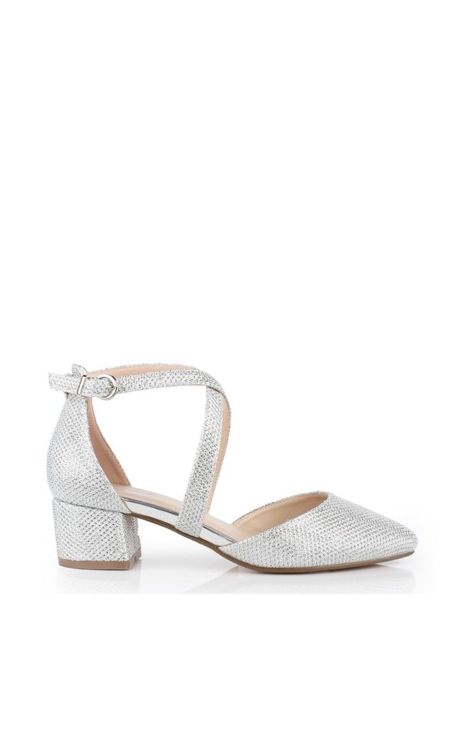 Francis Silver Glitter Wide Fit Low Heel Two Part Shoe by Paradox London