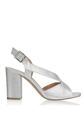 Hibiscus Silver Wide Fit Block Heel Ankle Strap Sandals by Paradox London