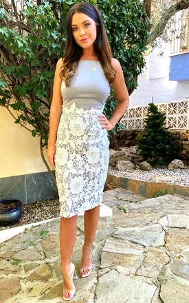 Tammy Lace Midi Dress Grey/White by Girl In Mind Product photo