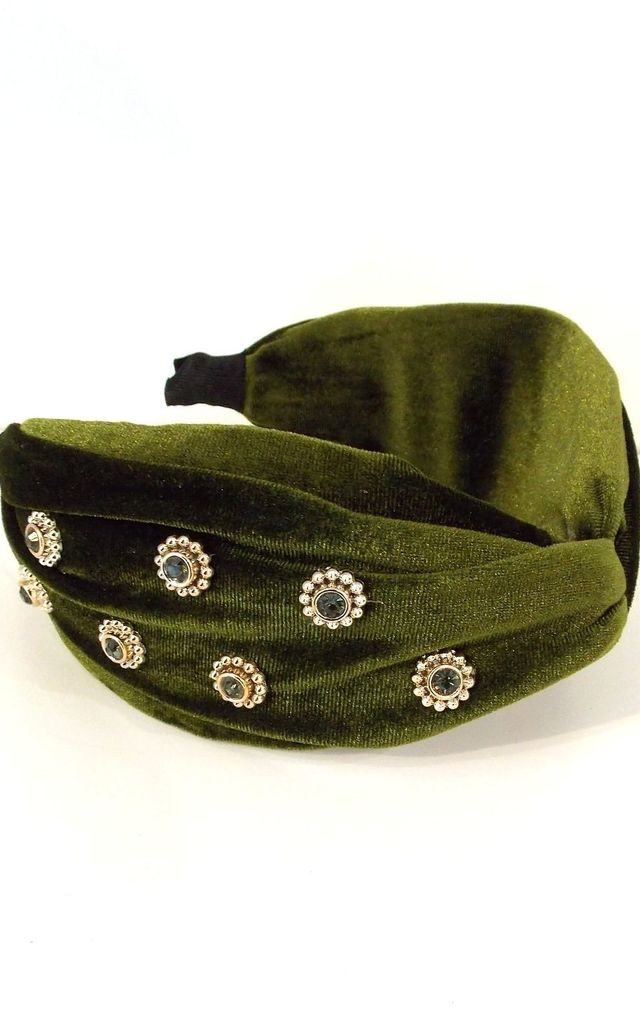 Olive Green Velvet Jewelled Turban Knot Headband by Olivia Divine Jewellery