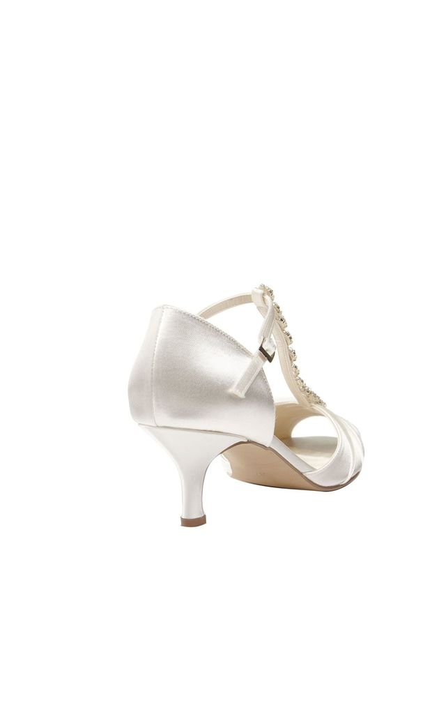 Fantasy Dyeable Ivory Low Heel T-Bar Diamante Sandal by Paradox London