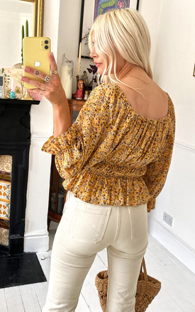 Jessie Square Neck Top in Mustard Floral Print by Nobody's Child